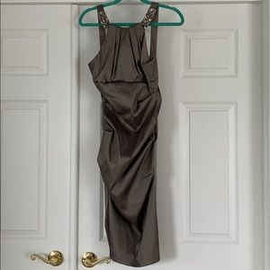 Grey-Green Rouched Slim Fit Dress